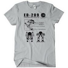 ED-209 Blueprint Omnicorp Mens T-Shirt Tee Robo 80s Cop Movie Weller New Robot