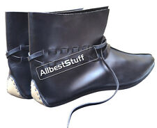 Medieval Style Leather Shoe Black Ankle Length Black