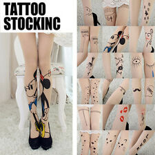 Cute Sexy Ladies Tattoo Pattern Transparent Sheer Pantyhose Stockings Leggings