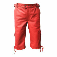 MENS GENUINE REAL RED LEATHER COMBAT CARGO SHORTS Lederhosen- (CARGO1RED)