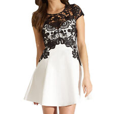 New Women's Short Sleeve Crochet Lace Patchwork Bodycon Dress Formal Party Gown