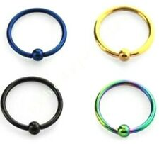 "2pcs. 18g~1/4"", 5/16"", 3/8""  w/ 2.5 ball Anodized Steel Captive Ring Nose Tragus"