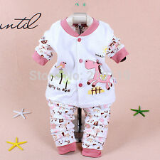 New Baby Girls Boys Unisex Toddler Animal Print Clothing Set Top + Pants