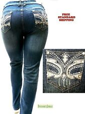 NEW GD DARK BLUE Stretch DENIM JEANS HIGH WAIST WOMENS PLUS SIZE SKINNY LEG 1234