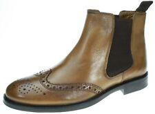 Red Tape Burnished Tan Mens Boots Real Leather Brogues Chelsea Pull On