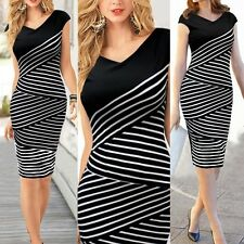 Hot Womens Celeb Striped Business Work Formal Tunic Stretch Party Slim Dress