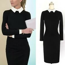 Women Slim Stand Collar Lapel Black White Stitching Long Sleeve Business Dress