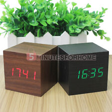 Cube Office Wooden Digital LED Display Alarm Clock Sound Activated Thermometer