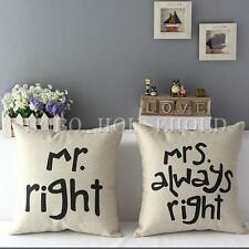 Linen Mr Mrs Right Pillow Case Couple Cushion Cover Waist Sofa Bed Home Decor