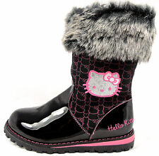 New Girls Hello Kitty Cute Winter Warm Black Casual Patent Zip Up Fur Boots
