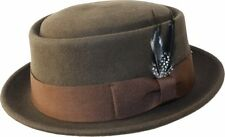 Men's 100% Wool Felt Crushable Porkpie Fedora Hat With Feather