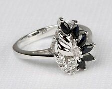 New Avon .925 Sterling Silver & GENUINE BLACK SAPPHIRE RING - Sz 5 6 7 8 9 10