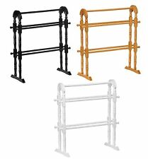 Rubber Wood Free Floor Standing Bathroom Bath Towel Rail Holder White Black Oak