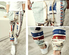 New Men's Boys Autumn Retro Cartoon Striped Slim Fit  Linen Harem Long Pants
