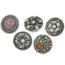Wholesale Lots Snap Press Snap Buttons With Rhinestone Fit Bracelet