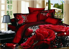 red brown rose flower Cotton king queen Size Duvet / quilt Cover bed Sets sheet