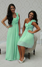 MINT GREEN 1 SHOULDER CHIFFON BRIDESMAID DRESS EVENING PROM LONG & SHORT 6-20