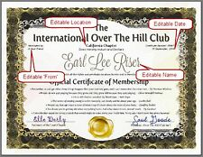 OVER THE HILL CLUB or OLD FARTS CLUB - Official Certificate Of Membership Gift
