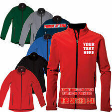 SG Mens Personalised Plain Or Printed Soft Shell Jacket Windproof Waterproof
