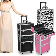 Aluminum Pro 3 in1 Rolling Makeup Cosmetic Train Case Box Wheeled Folding New