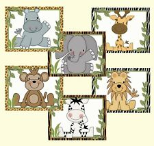 Cute Jungle Animals Wall Art Prints Baby Boy Nursery Kids Safari Zoo Room Decor