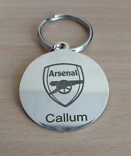 CHROME PLATED ARSENAL KEYRING PERSONALISED LASER ENGRAVED - STUNNING GIFT