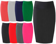 Womens Midi Pencil Skirt Ladies Plain Jersey Bodycon Tube Skirt Plus Sizes 8-14