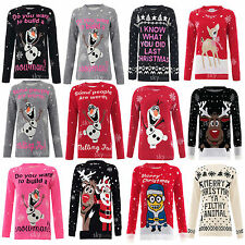 WOMENS LADIES NOVELTY OLAF FROZEN CHRISTMAS JUMPERS SWEATER TOP XMAS JUMPER