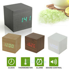 LED Alarm Clock USB/AAA Digital Desk Thermometer Voice Control Cube Wood Wooden