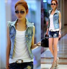 Women's Turn-down Collar Frayed Personalized Cardigans Lady Jean Vest Coat