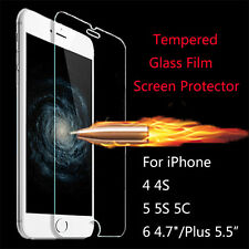 """For iPhone 4/4s 5s 5c 6 4.7""""/Plus 5.5inch Real Glass Screen Protector Film 0.3mm"""