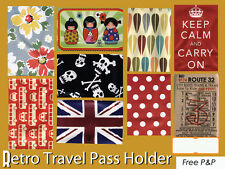 Retro Travel Pass Holder Slim Wallet 4 season ticket bus pass Oyster Card