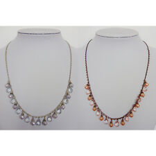 1928 SIGNED SILVER or CHOCOLATE TONE CRYSTAL PEARL NECKLACE ~2 SELECTIONS