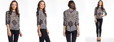 L.A.M.B. Gwen Stefani  Mixed Print Top Black Ivory Blouse Plaid Check White