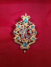 Stunning Diamonte Gold Plated SIKH Eik Onkar Singh Brooch Cake Pin in 4 colours