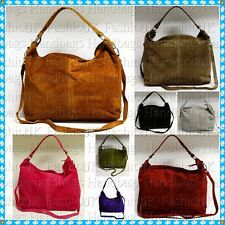 Italian Real Genuine Suede Leather Slouch Hobo Cross Body Messenger Handbag Bag