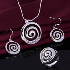 Fashion 925 Sterling silver Beautiful crystal Jewelry set earrings necklace Ring