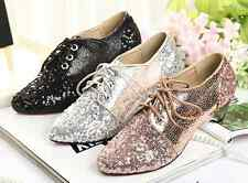Womens Glitter Metallic Sequin Pointy Toe Low Heel  Lace Up Flats Oxford Shoes