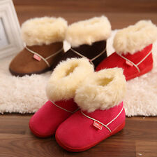 Unisex Baby Kids Anti-slip Candy-colored Suede Cotton Shoe Fur Snow Boots US6-10
