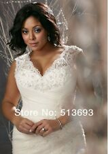 New Arrival Mermaid V-neck Applique Organza Lace Up Plus Size Wedding Dress