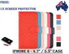 """SHEEPSKIN LEATHER WALLET CASE CREDIT CARD SLOT APPLE IPHONE 6 4.7"""" and PLUS 5.5"""""""