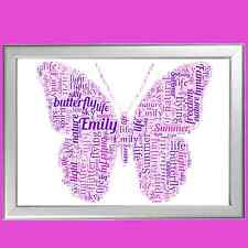 BUTTERFLY WORD ART, UNIQUE AND FULLY PERSONALISED, IDEAL CHRISTMAS GIFT