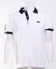 Lacoste Contrast Short Sleeve Cotton Polo Shirt in White/Navy Blue