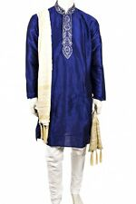 MKP3042 Blue and Ivory Men's Kurta PyjamaIndian Suit Bollywood Sherwani