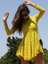 H&M Trend Yellow Lace Circular Long Sleeve Dress UK 6 8 10 12 14 US 2 4 6 8 10