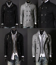 Mens Black Grey Double Breasted Wool Half Trench Duffle Winter PEA Coat Jacket