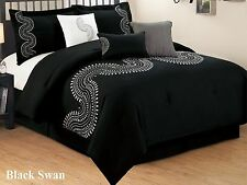 7 PC Black and White Embroidered Comforter Set, King & California King Sizes