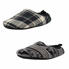 Mens Clarks Kite Snooze Grey Check Or Navy Check Textile Slipper Mules