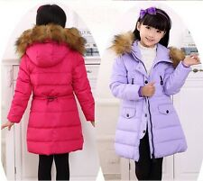New kids Girls Fur collar Thicken long section Down Jacket 7 Color size:4-10Y
