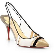 Christian Louboutin HIGHWAY Leather Patent PVC Sling Heels Sandals Shoes $745